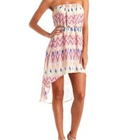 Digital Chevron Strapless High-Low Dress by Charlotte Russe - Coral