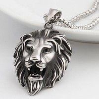 LION Head Pendant Necklace For Men Luxury Stainless Steel