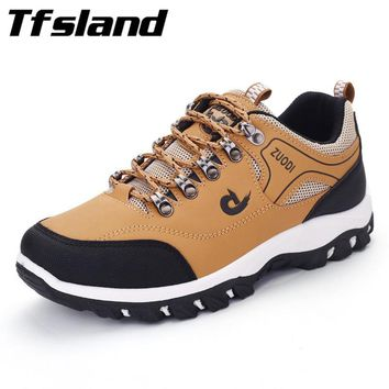 Tfsland Hot Men PU Leather Sports Shoes Non-slip Male Climbing Shoes Outdoor Mens Trainers Climb Boots Man Hiking Shoes Sneakers