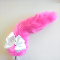 Custom Hot Pink Butt Plug Tail. Gift for her /Gift Ideas / Sex Toy / BDSM / Mature / Sexo Anal / Sex /Bachelorette gift /Princess Plug.