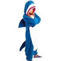 Animal Cosplay Costume Unisex Blue Sharky Shark Kigurumi Onesuits Costumes
