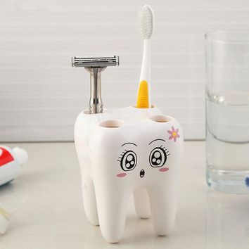 DCCKL72 Cartoon Toothbrush Holder,Teeth Style 4 Hole Stand Tooth Brush Shelf Bathroom Accessories Sets,Bracket Container For Bathroom