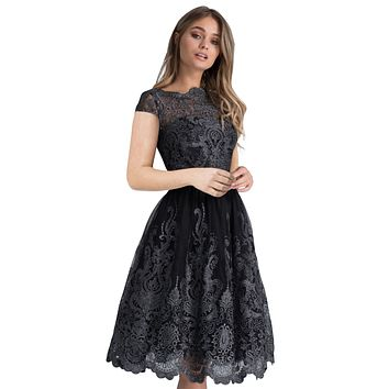 Dreamy Black Lace Embroidered Prom Dress