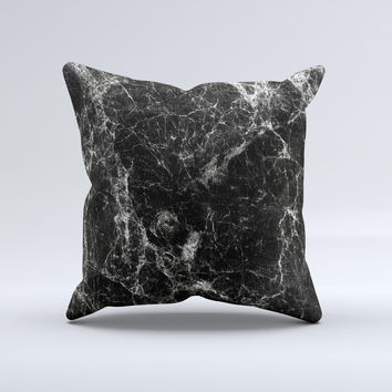 The Black Scratched Marble ink-Fuzed Decorative Throw Pillow