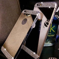 Rhinestone Bling Mirror Soft Phone Case For iPhone 5 5s 6  6 plus