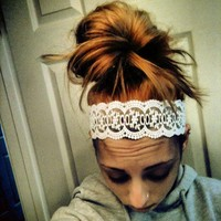 White Lovely Lace Headband from Diamond Life Boutique