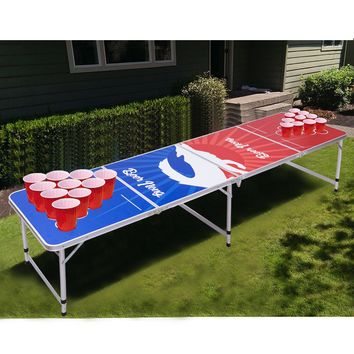 Giantex 8FT Portable Indoor Folding Beer Pong Table Party Gaming Picnic Outdoor Camping Desk Dining Room Furniture OP3335