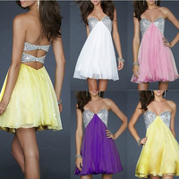 Strapless chiffon backless dress MY0129FY