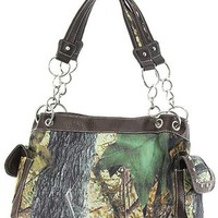 Mossy Leaf Camo Print Canvas Satchel Purse Shoulder Bag Camouflage (Brown Trim)