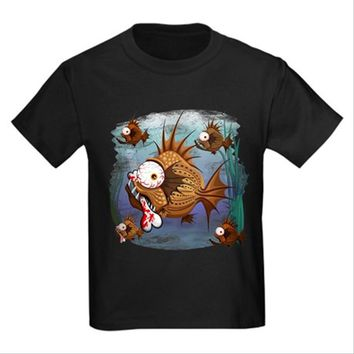 Psycho Fish Piranha Kids Dark T-Shirt