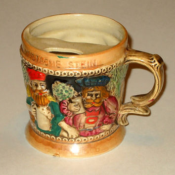 Vintage 1940's or 50's Lusterware Mustache Cup from Japan