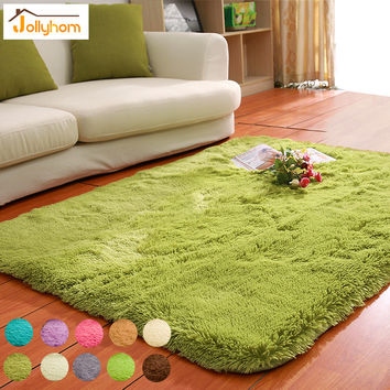 Solid Floor Carpet Mat Long Hair Modern Shaggy Rugs Slip Resistant Carpets for Living Room Bedroom Accept Carpet-Washable