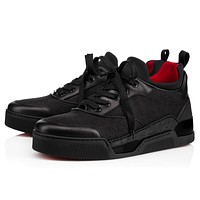 Christian Louboutin Cl Aurelien Flat Black/flamenco Fabric Sneakers
