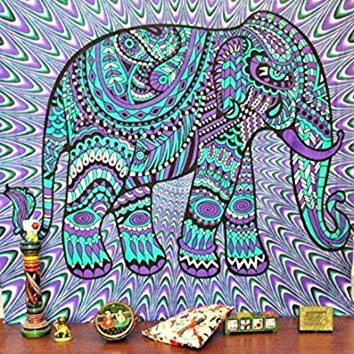 Purple Tribal Elephant Boho Wall Tapestry