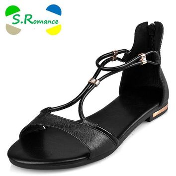 S.Romance Genuine Leather 2016 Women Flat Sandals Plus Size 34-43 Fashion Casual Solid