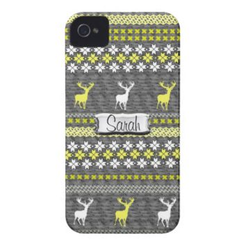 Yellow Grey White Stag Deer Trendy Pattern Case-Mate iPhone 4 Cases