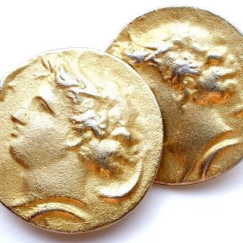 Apollo Greek God Coin Earrings Vintage