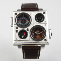 Fashion Mens Outdoor Sports Leather Strap Watch Army Style Watches Hight Quality Best Christmas Gift