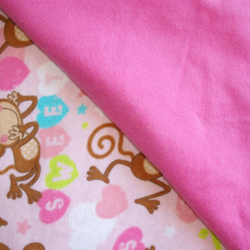 pink monkey blanket baby toddler