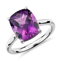 Amethyst Cushion Cut Ring in 14k White Gold (11x9mm) | Blue Nile