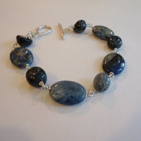 Dumortierite Bracelet, Blue Gemstone Bracelet, Blue Wire Wrapped Bracelet