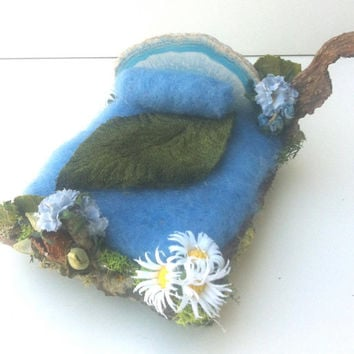 Forest Whimsy Fairy, gnome OOAK bed sky blue.  Blue agate headboard, blue, white flowers. Dollhouse miniature or Waldorf  toy furniure
