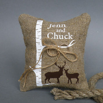 Wedding rustic natural linen Ring Bearer Pillow Two brown Deers and the Birch tree and linen rope