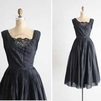 black silk dress / 1950s pleated dress