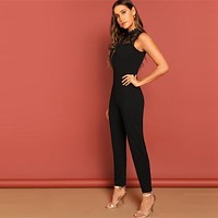 Black Constract Lace Bodice Open Back Halter Skinny Mid Waist Sleeveless Jumpsuit Women Modern Lady Jumpsuits