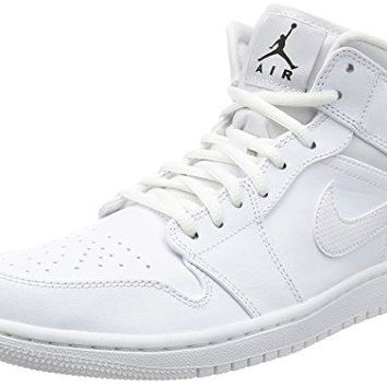 Nike Men's Air Jordan 1 Mid Basketball Shoe  white nike air
