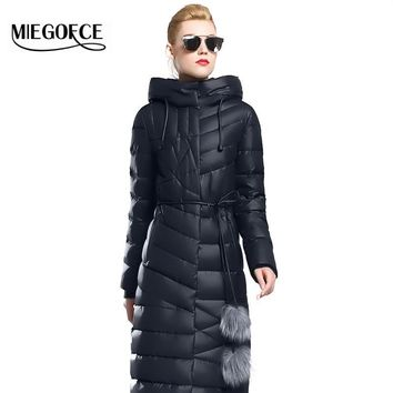 Winter Women Coat Jacket Warm High Quality Woman Parkas Winter Overcoat with Fur Belt MIEGOFCE 2016 New Winter Collection Hot