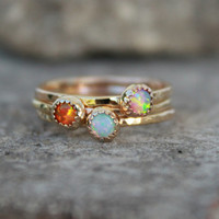 GOLD OPAL RING - gemstone stacking ring - thin gemstone rings - opal stacking rings - thin stacking gemstone rings-stackable