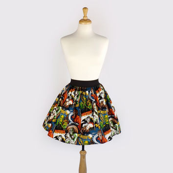 Classic Horror Movies Hollywood Monsters pleated  Skirt