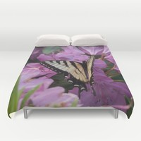 Monarch on Rhododendron Duvet Cover by Scott Hervieux