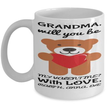 Grandma Valentines Mug - Personalization Gifts For Grandparents - Funny Teddy Bear Cup for Coffee, Cocoa & Tea - Great Pencil Holder - Holidays 2017 2018