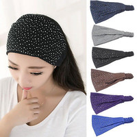 Fashion Women Solid Head Wrap Diamond Hair Band Headwear Turban Twist Headband
