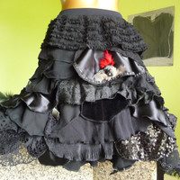 Bustle Skirt black Belly Burlesque Lolita & Exotic Dancer / dark fairy victorian Gothic Steampunk - Feathers upcycled
