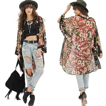 Floral Women Blouse Cover Up Casual Chiffon Kimono Summer Long Cardigan Jacket