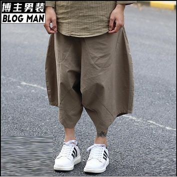 HOT 2016 Summer men clothing fluid all-match linen harem pants middlelowlevel low pants cross pants hairstylist singer costumes