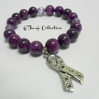 Grape gemstone beads, lavender czech glass spacers and an Animal Awareness Charm