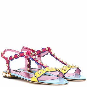 Embellished patent leather sandals