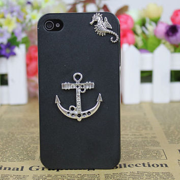 Silvery Anchor, Seahorse With Black Cell Phone Hard Case Cover   for Apple iPhone 4gs Case, iPhone 4s Case, iPhone 4 Hard Case C021