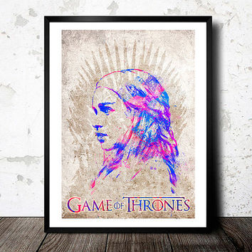 Game Of Thrones poster. Daenerys Targaryen - game of thrones watercolor painting print, Celebrity Portrait