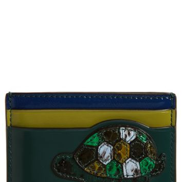 Tory Burch Turtle Appliqué Leather & Genuine Snakeskin Card Case | Nordstrom