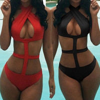 Halter Neck Criss Cross Back Bikini Swim Suit Beach Bathing Suits Swimwear _ 13040