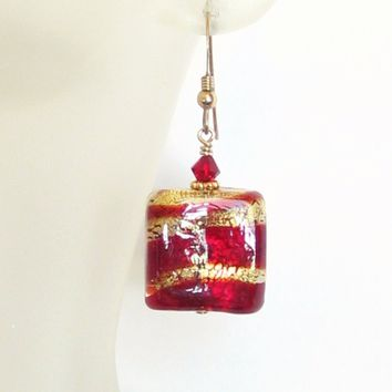 Murano Glass Red Striped Gold Earrings, Chunky Square Earrings