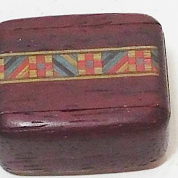 Wood Pill Box, Small Wood Box, Wedding Ring Holder, Padauk Wood, Sliding Lid, Secret Box, Zig Zag, Heart Mark, Vintage
