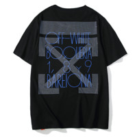 Off White New fashion bust and back diamond cross letter arrow couple top t-shirt Black
