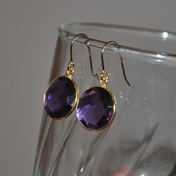 Amethyst Earrings,  Gold Earrings, February Birthstone,   Drop Earrings,  Fashion Jewelry,  Purple Earrings