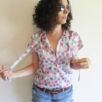 Vintage 60s 70s Pretty Polyester Gray Pink Purple Floral Flower Hippie Boho Blouse Shirt